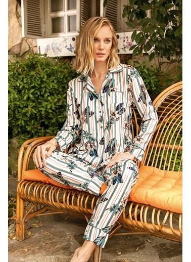 Anıl Çiçekli Çizgili Viskon Gömlek Pijama Takım Yeşil